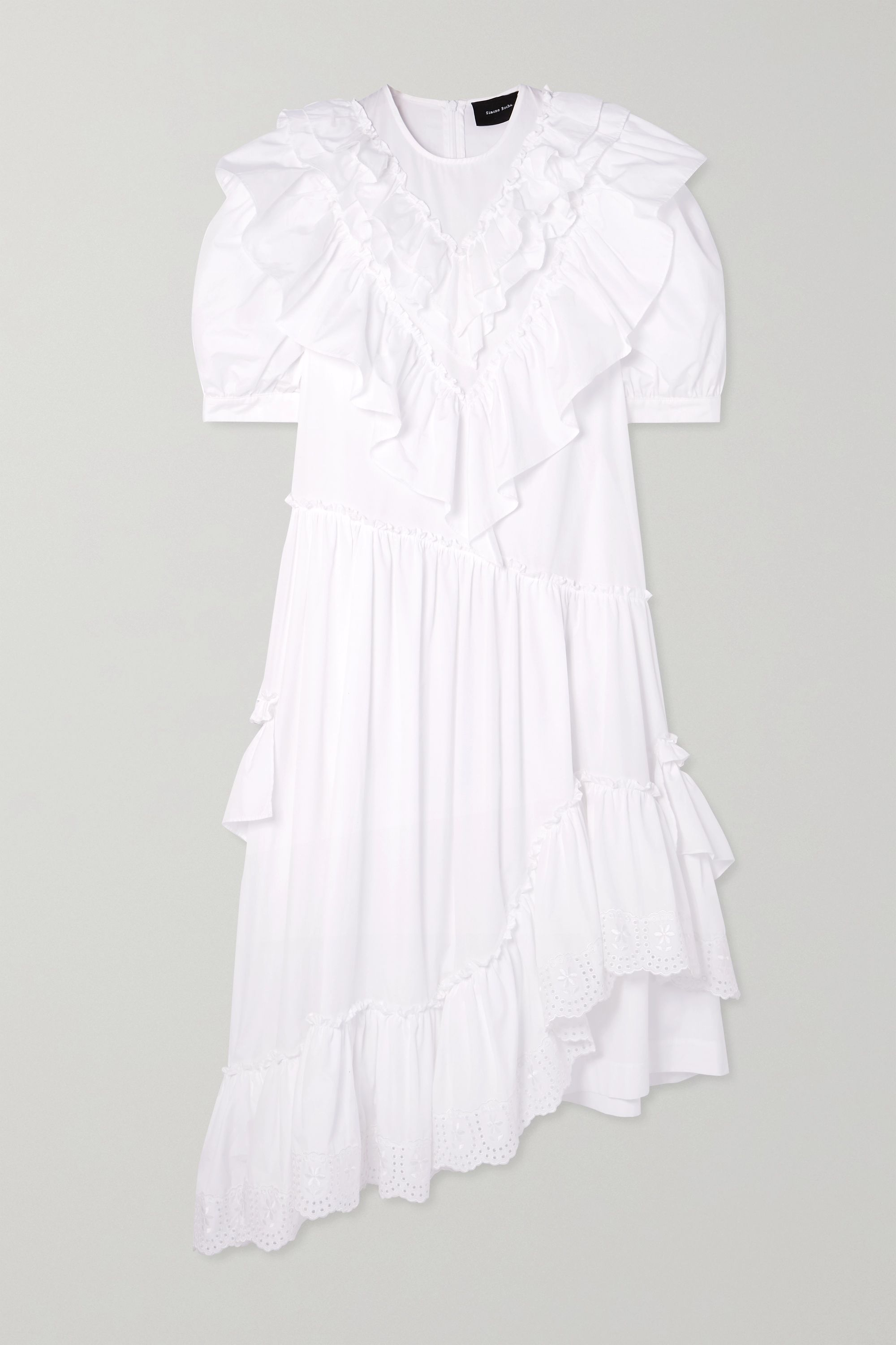 Simone Rocha Bite asymmetric ruffled broderie anglaise cotton-poplin midi dress