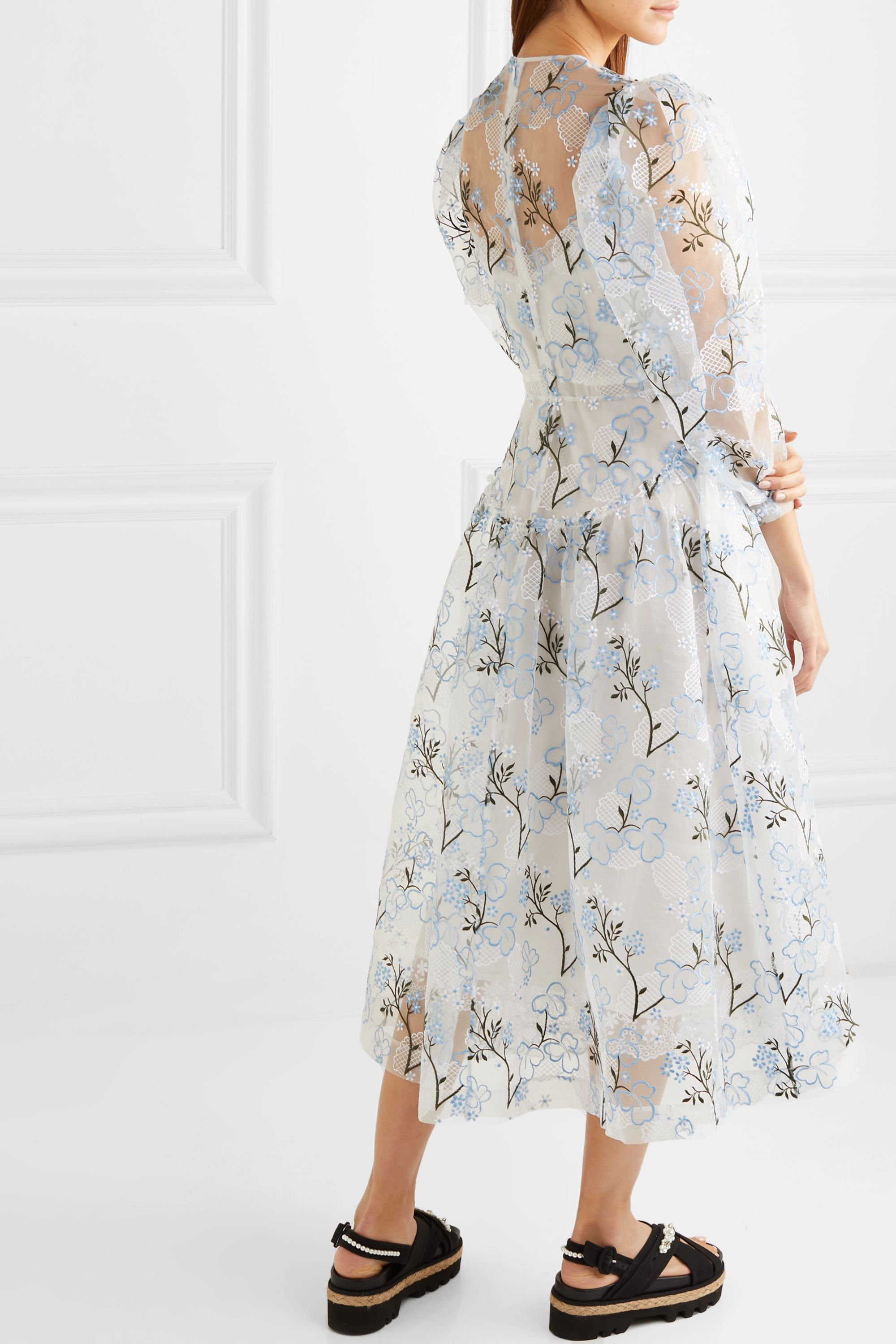 Simone Rocha Ruffled embroidered organza midi dress