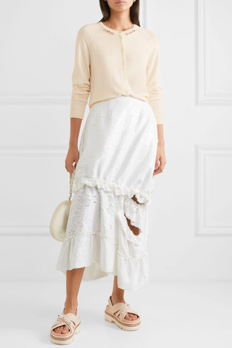 Simone Rocha Bite Back embellished ruffled cutout wool and silk-blend cardigan