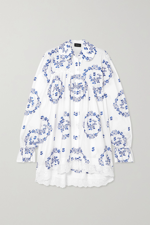 Simone Rocha Embroidered ruffled cotton-blend poplin shirt