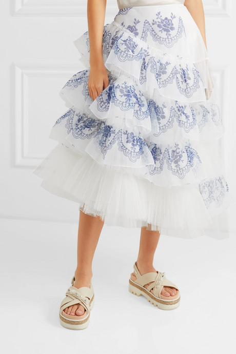 Asymmetric ruffled printed organza and tulle midi skirt