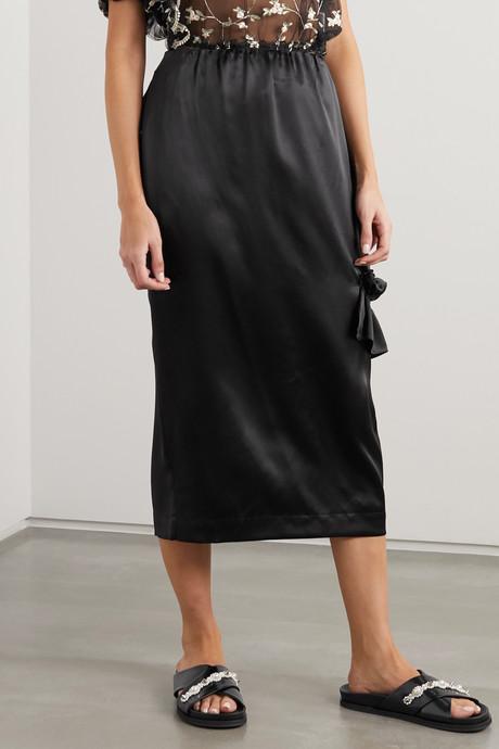 Bite cutout ruffled silk-satin midi skirt