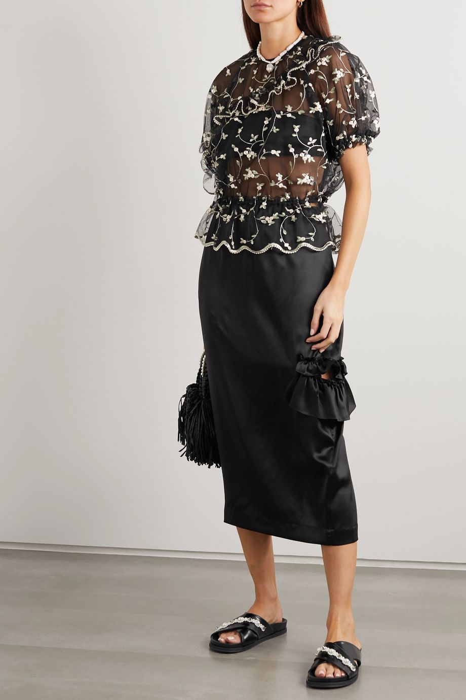 Simone Rocha Bite cutout ruffled silk-satin midi skirt