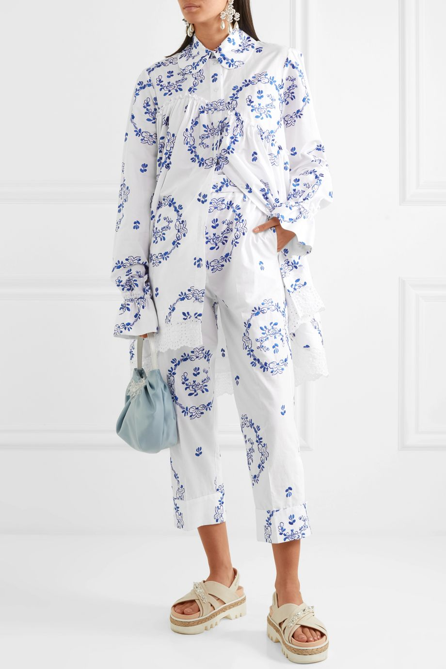 Simone Rocha Embroidered cotton-blend poplin straight-leg pants