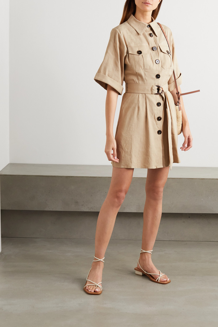 ANNA QUAN Robbie belted linen-blend mini shirt dress