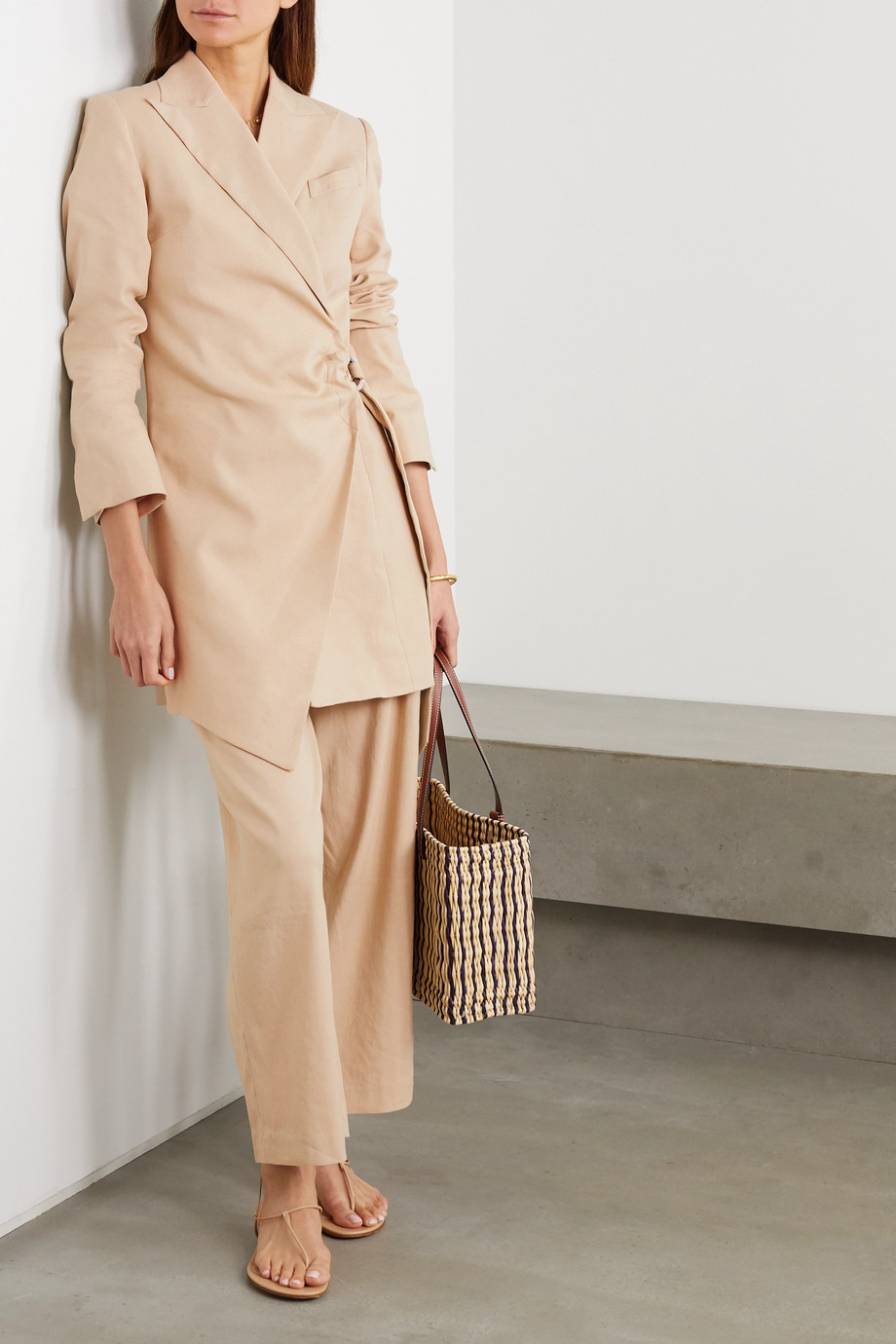ANNA QUAN Gigi pleated linen-blend straight-leg pants