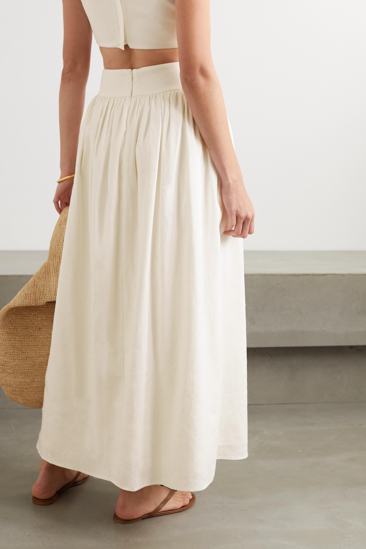 ANNA QUAN Addy gathered linen-blend maxi skirt
