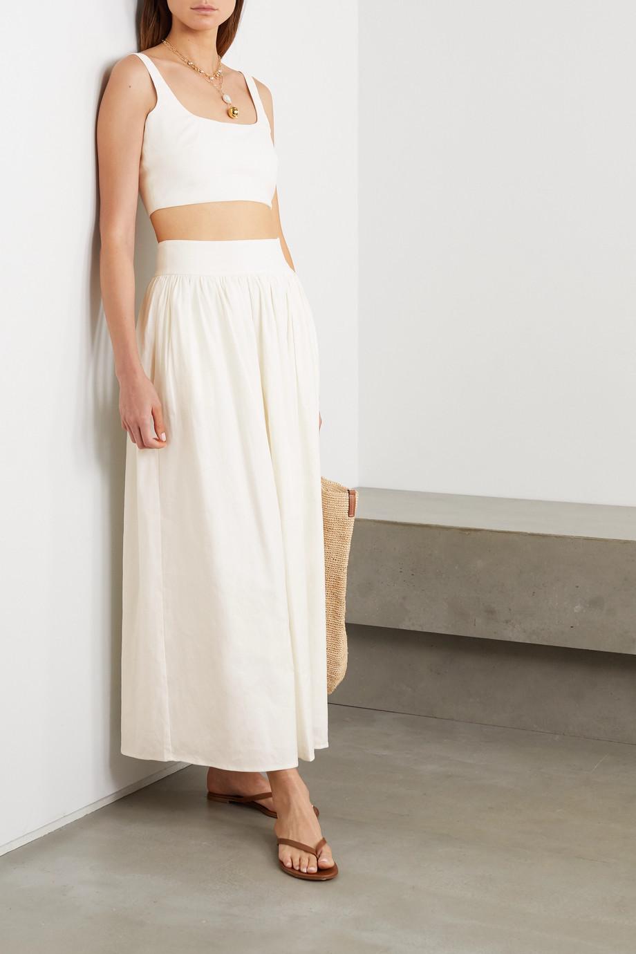ANNA QUAN Addy cropped linen-blend top