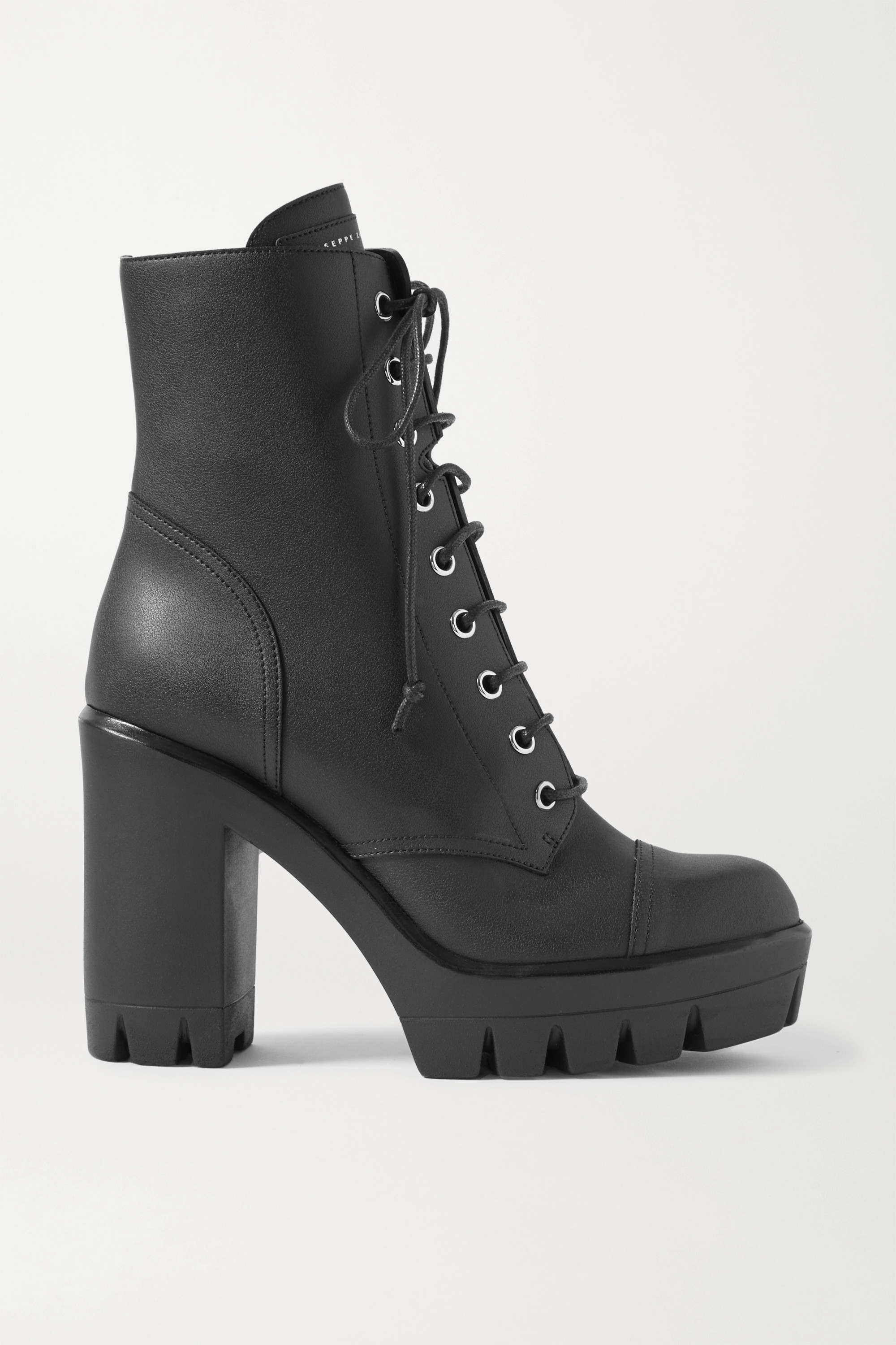 Moyra Leather Combat Boots In Black