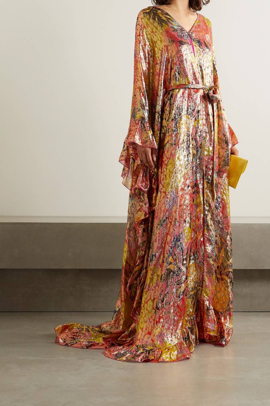 Dundas Belted ruffled printed fil coupé silk-blend chiffon gown