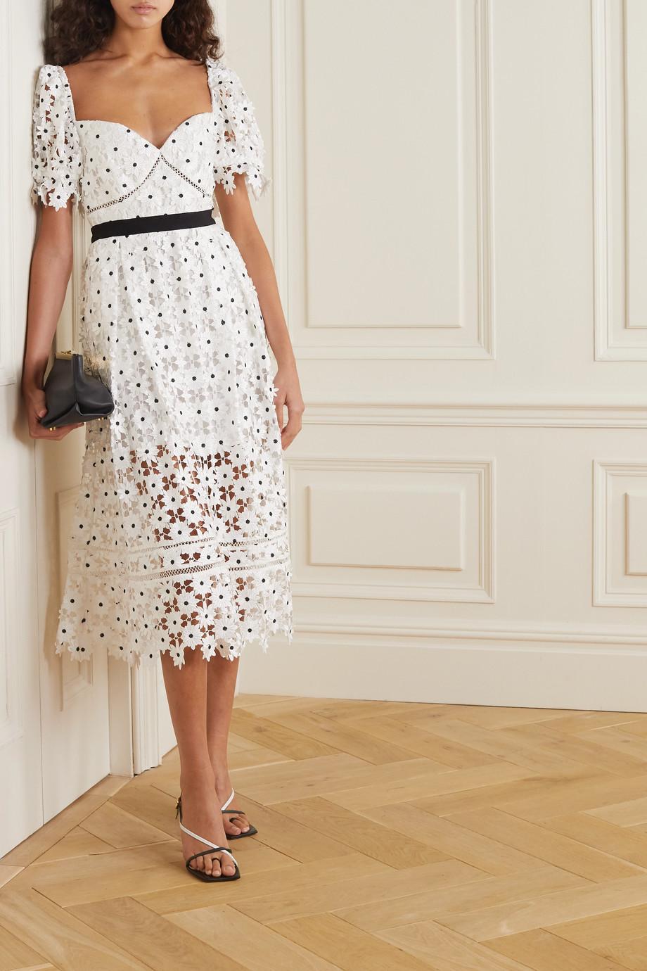 Self-Portrait Grosgrain-trimmed corded lace midi dress