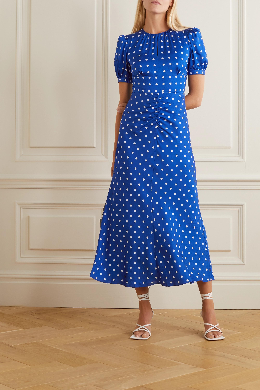 Self-Portrait Polka-dot satin-jacquard midi dress