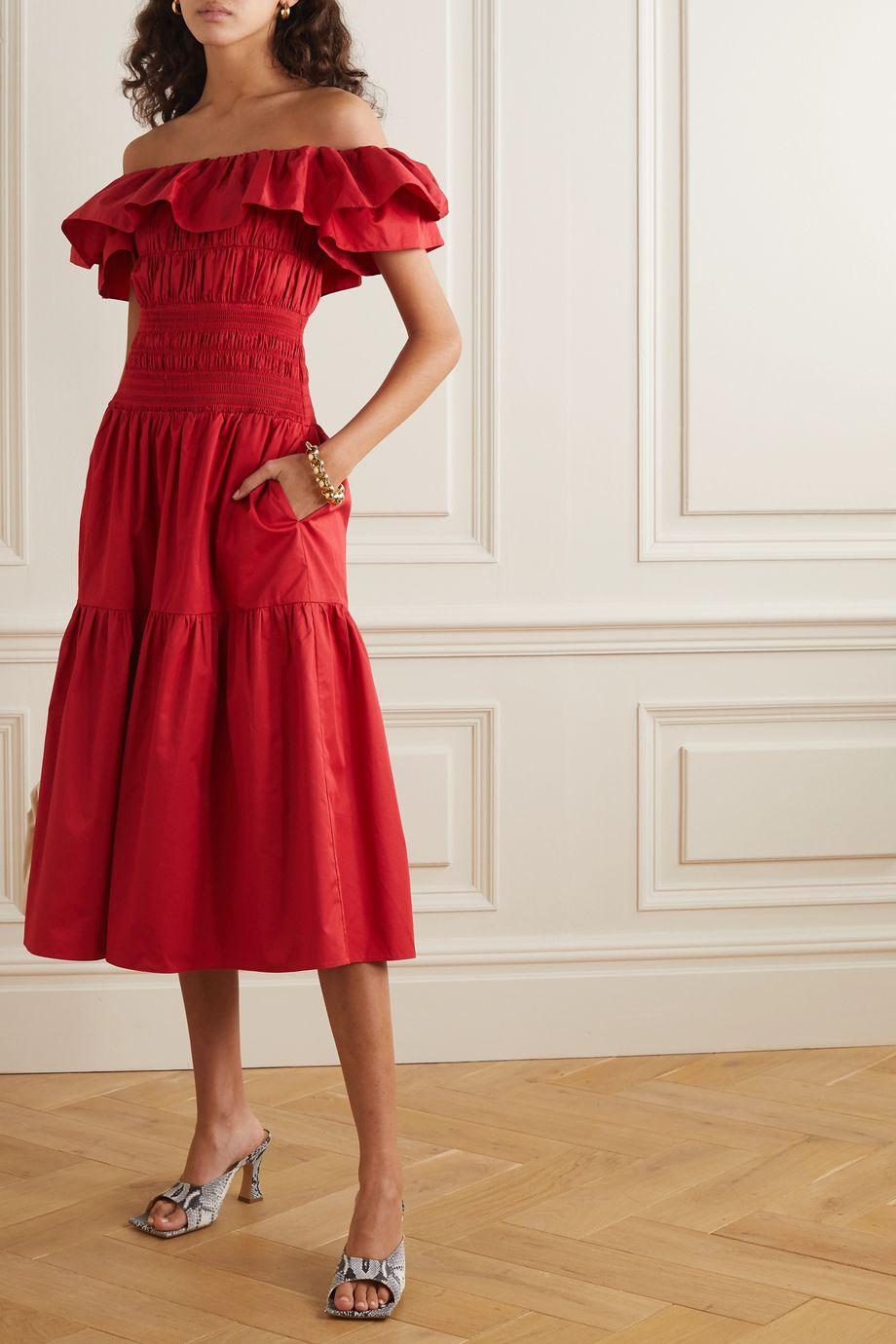 Self-Portrait Off-the-shoulder shirred ruffled cotton-poplin midi dress