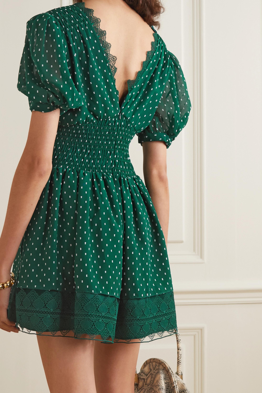 Self-Portrait Lace-trimmed fil coupé crepe mini dress