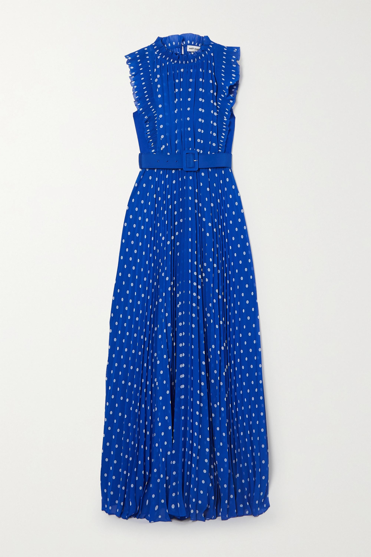 Self-Portrait Belted pleated polka-dot chiffon maxi dress