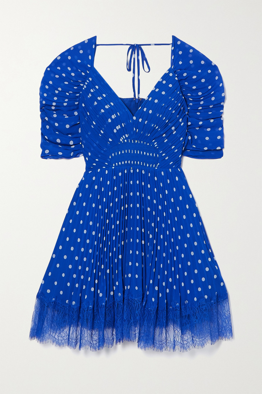 Self-Portrait Lace-trimmed pleated polka-dot chiffon mini dress