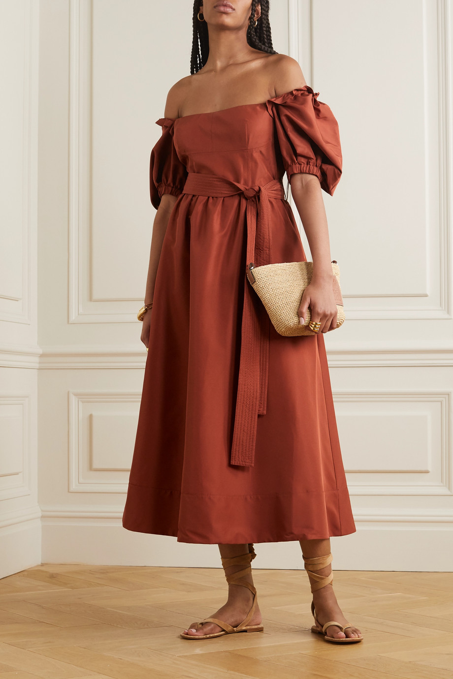 Self-Portrait Belted taffeta midi dress