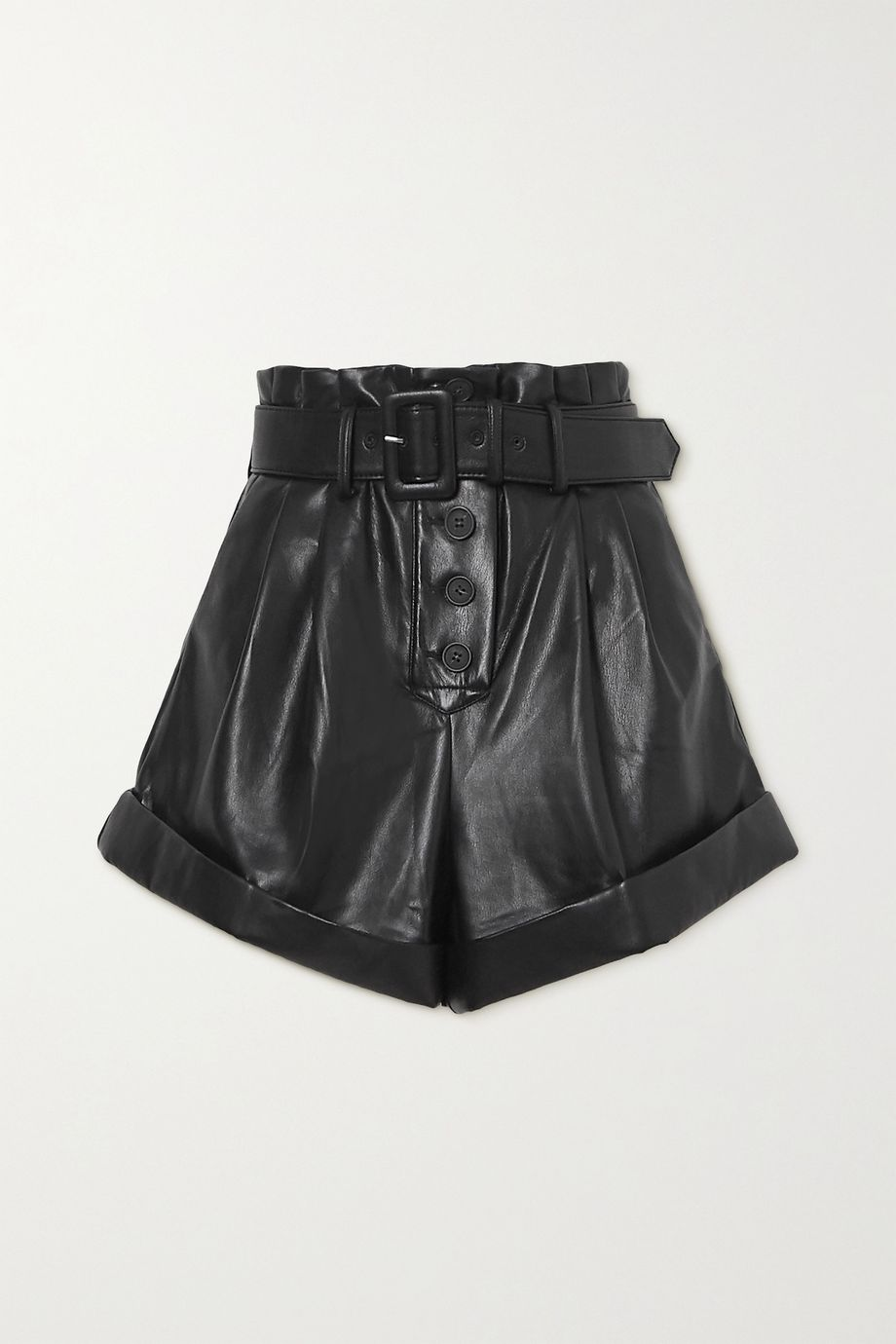 Self-Portrait Belted faux leather shorts
