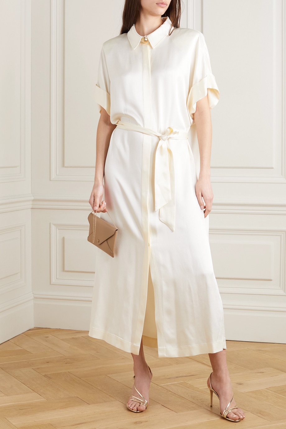 MARTIN MARTIN Constance belted satin maxi shirt dress