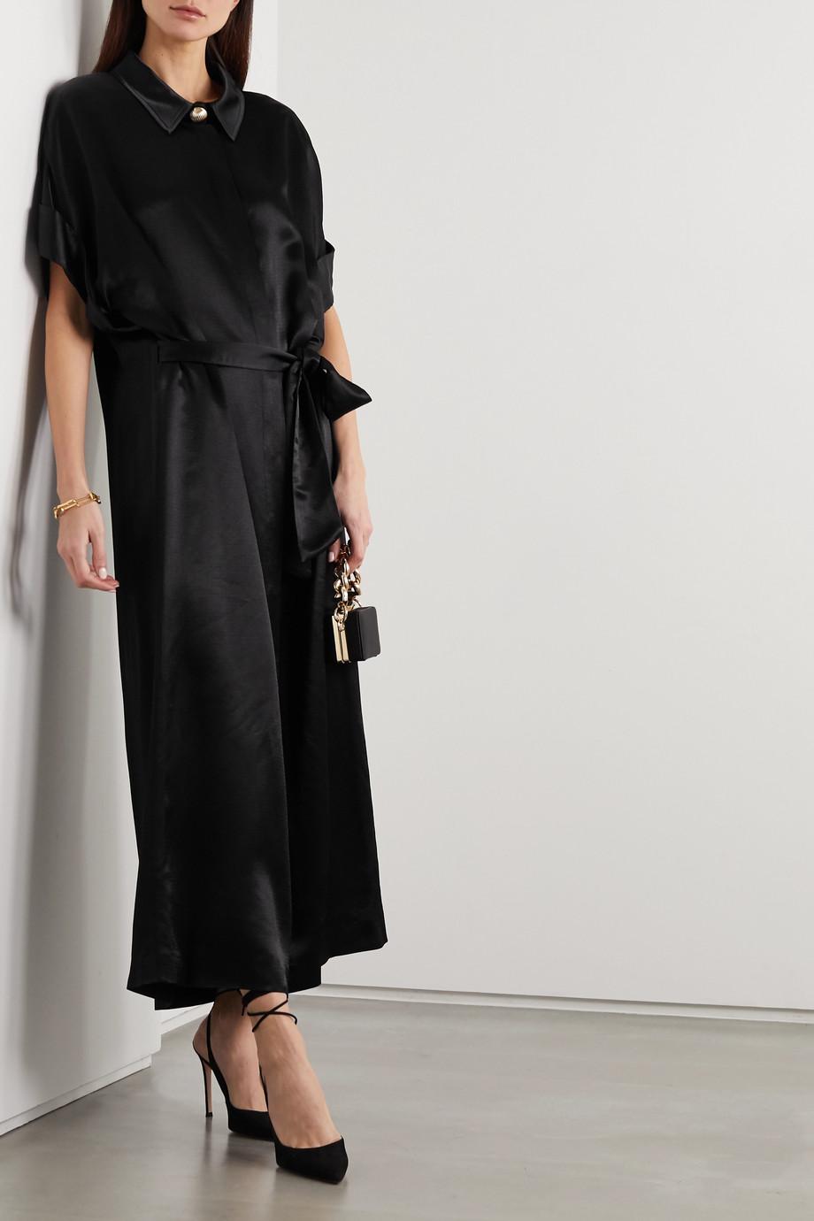 MARTIN MARTIN Constance belted satin maxi shirt dress