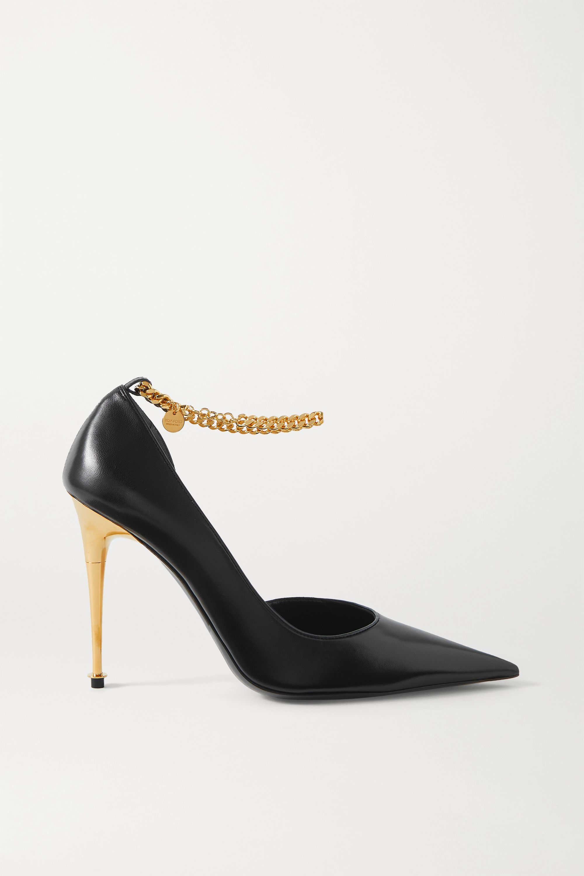 TOM FORD Chain-embellished leather pumps