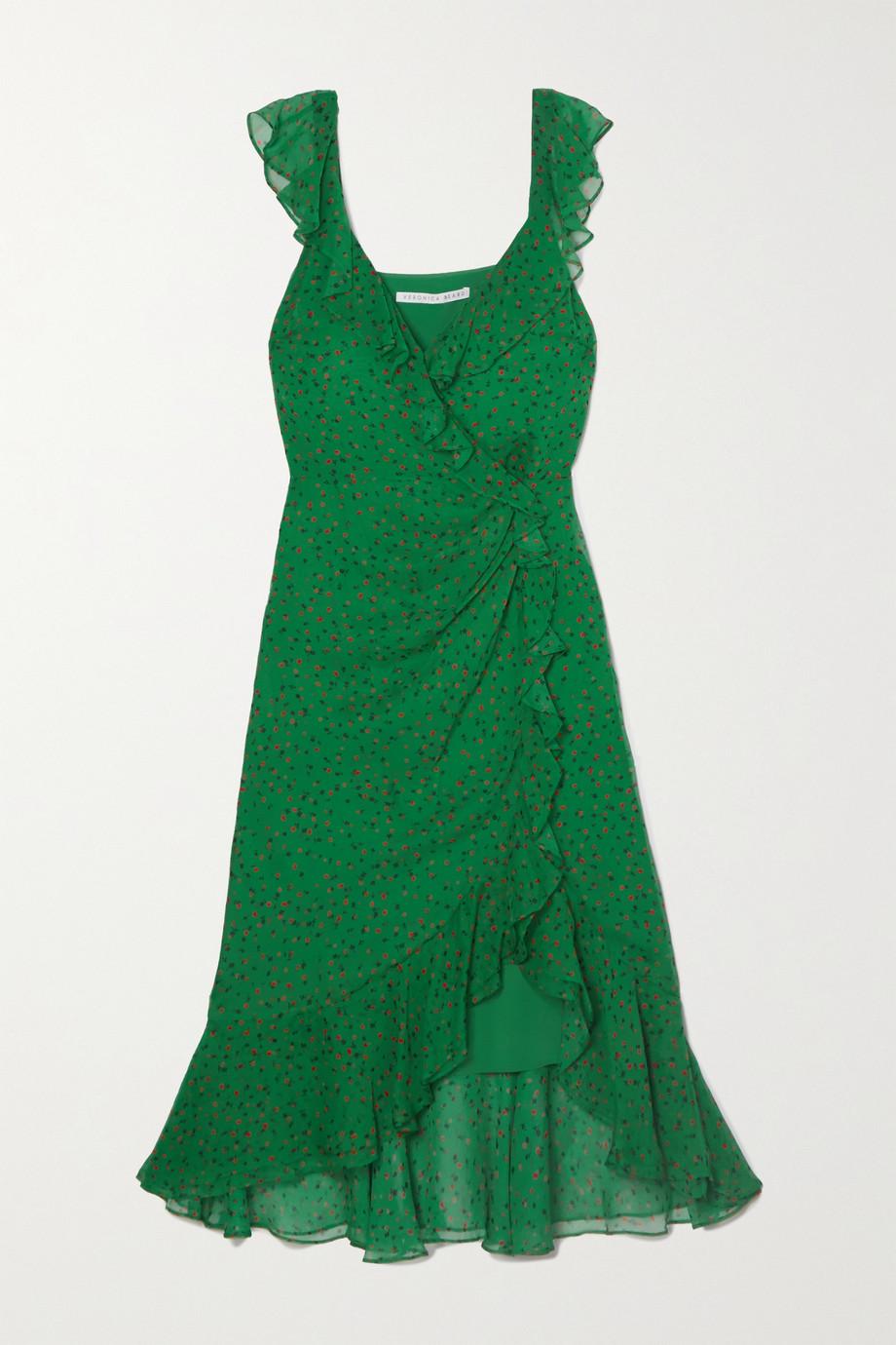 Veronica Beard Robe midi en mousseline de soie à imprimé fleuri et à volants Amal