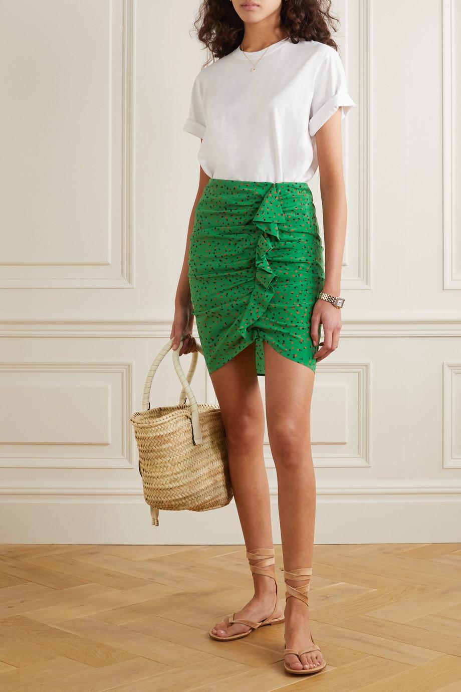 Veronica Beard Spencer ruffled floral-print silk-blend chiffon mini skirt