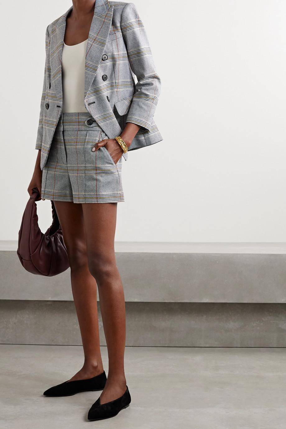 Veronica Beard Empire double-breasted checked cotton-blend blazer