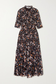 Veronica Beard Gabi shirred floral-print chiffon midi dress