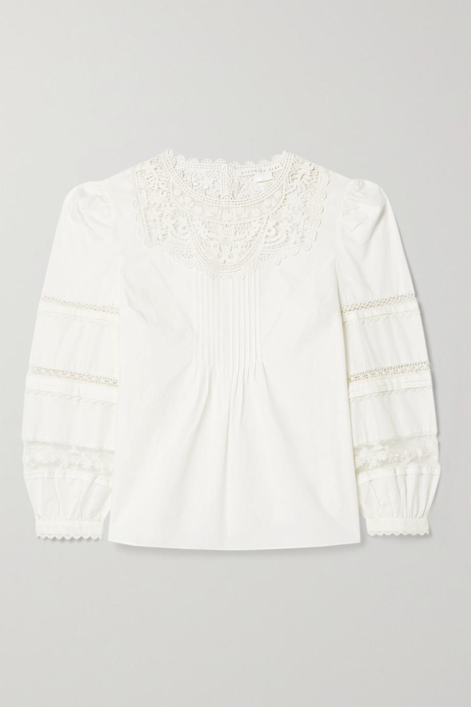 Veronica Beard Bessie pintucked crocheted lace-trimmed cotton-poplin blouse