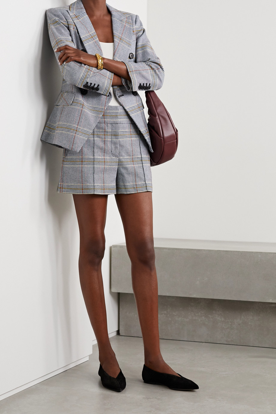 Veronica Beard Betty checked cotton-blend shorts