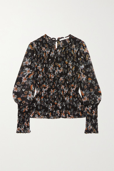 Veronica Beard Dresses FAIRE SHIRRED FLORAL-PRINT CHIFFON TOP