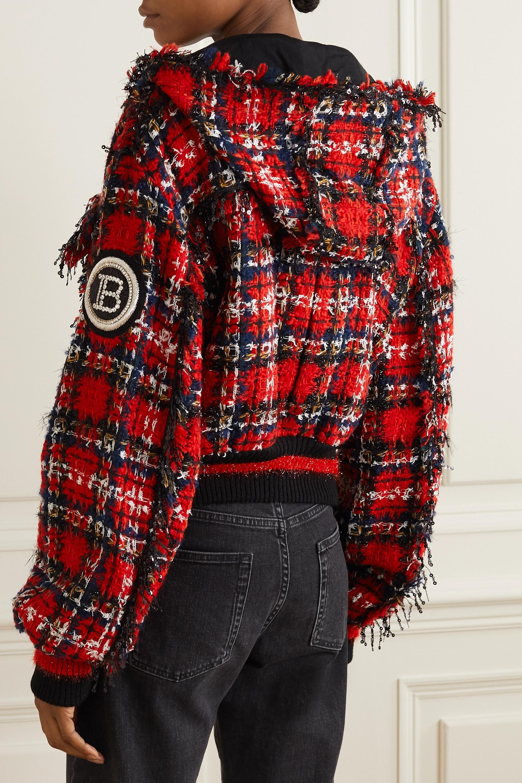 Balmain Blouson à capuche en tweed à carreaux