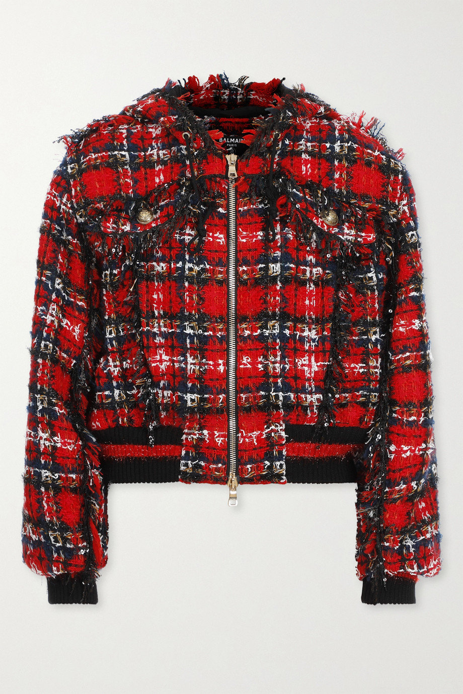 Balmain Hooded checked tweed bomber jacket