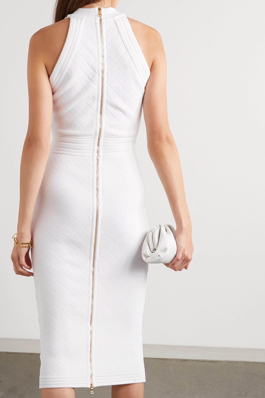 Balmain Button-embellished pointelle-knit midi dress