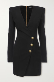 Balmain Button-embellished wool mini wrap dress