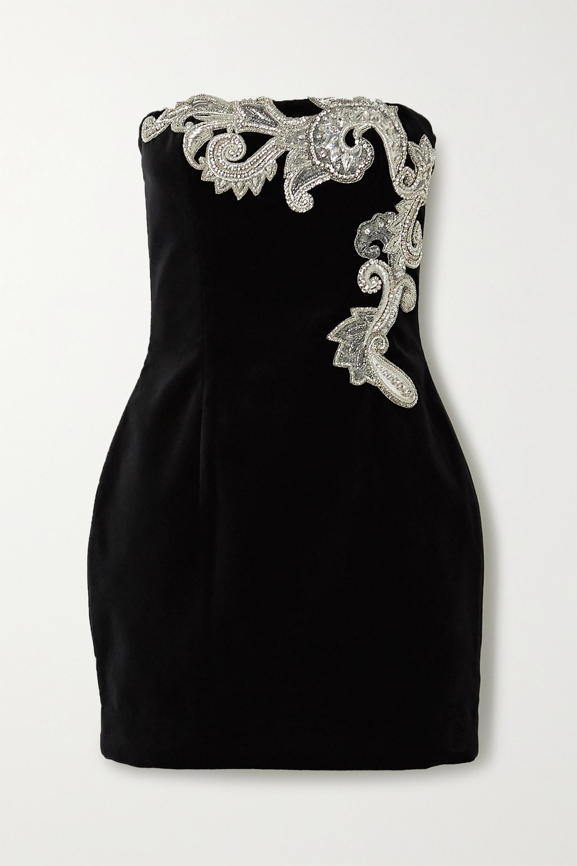 Balmain Crystal-embellished cotton-velvet mini dress