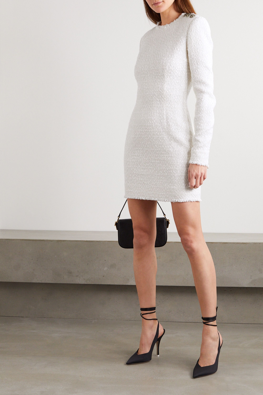 Balmain Button-embellished tweed mini dress