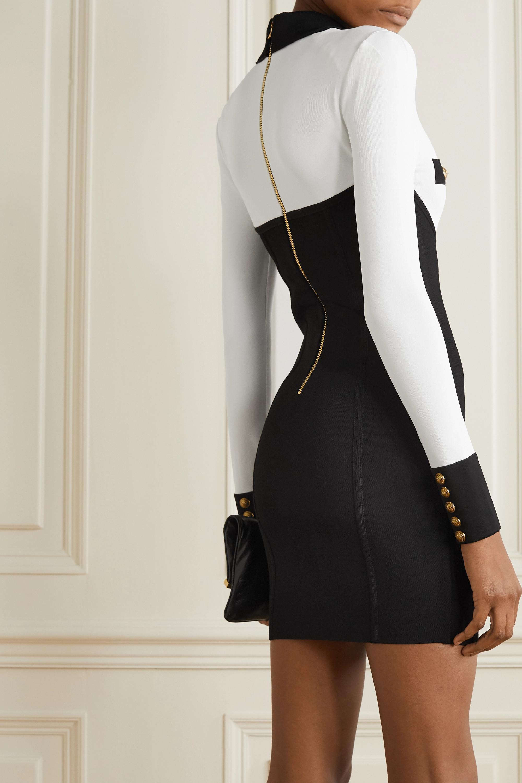 Black Button-embellished Two-tone Stretch-knit Mini Dress | Balmain