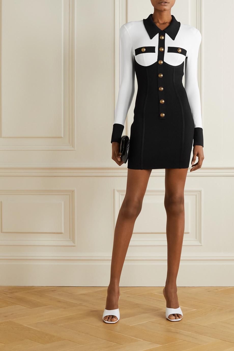 Balmain Button-embellished two-tone stretch-knit mini dress