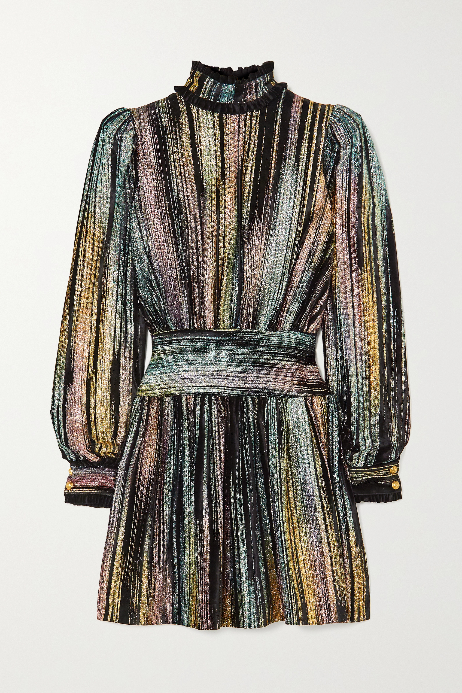 Metallic Ruffled Lurex And Velvet Mini Dress Balmain Net A Porter