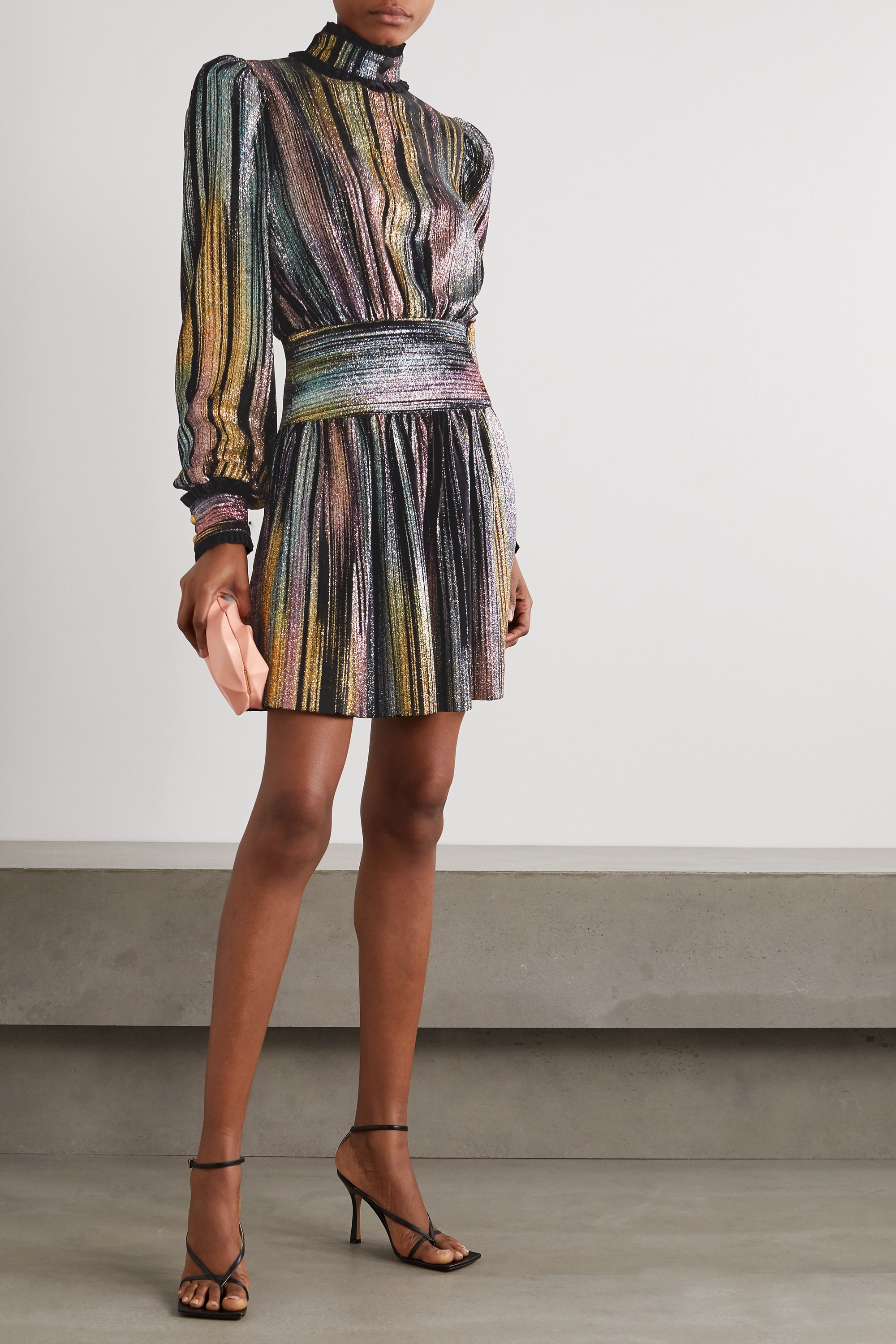 Balmain Ruffled Lurex and velvet mini dress