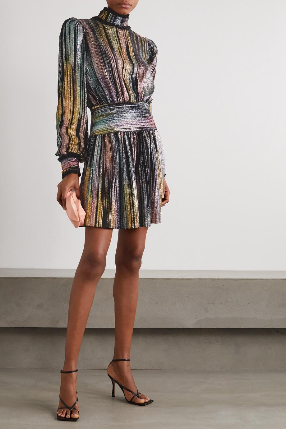 Balmain Minikleid aus Lurex® und Samt mit Rüschen