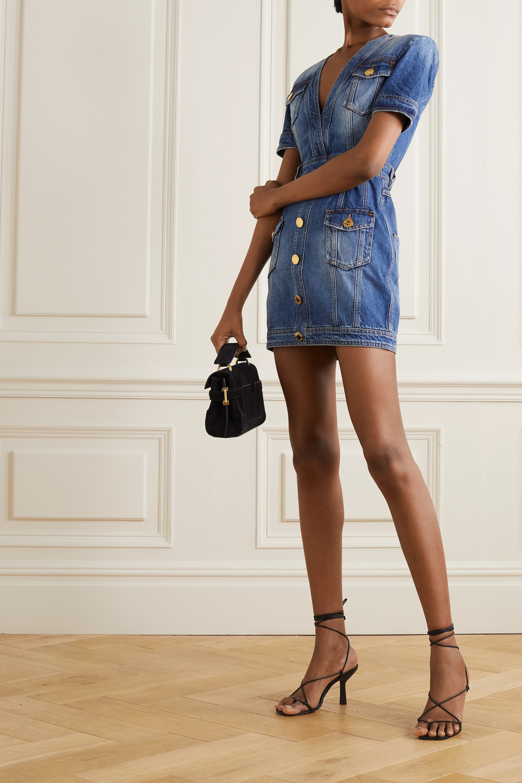 Balmain Button-embellished denim mini dress