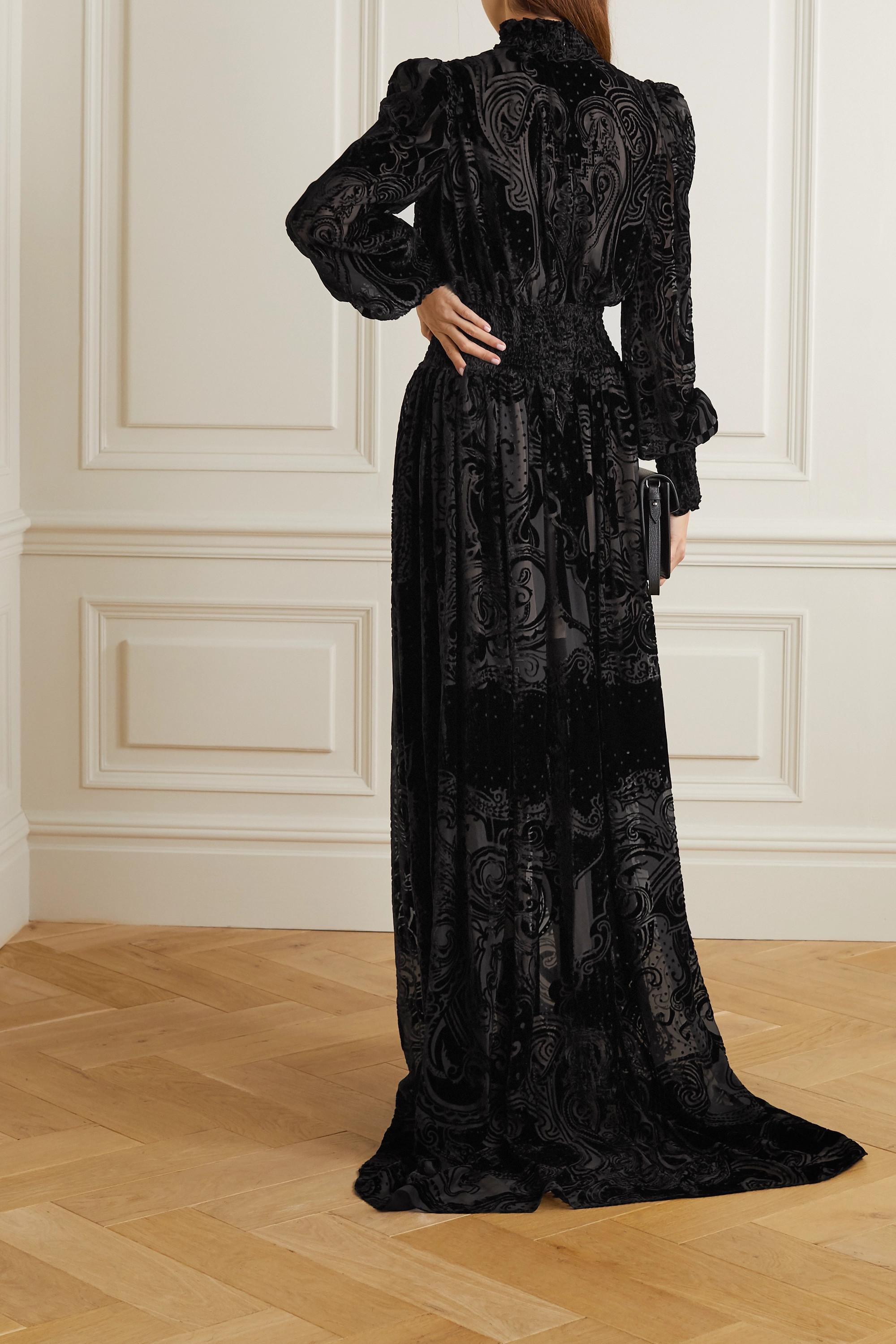 Balmain Shirred devoré-chiffon gown