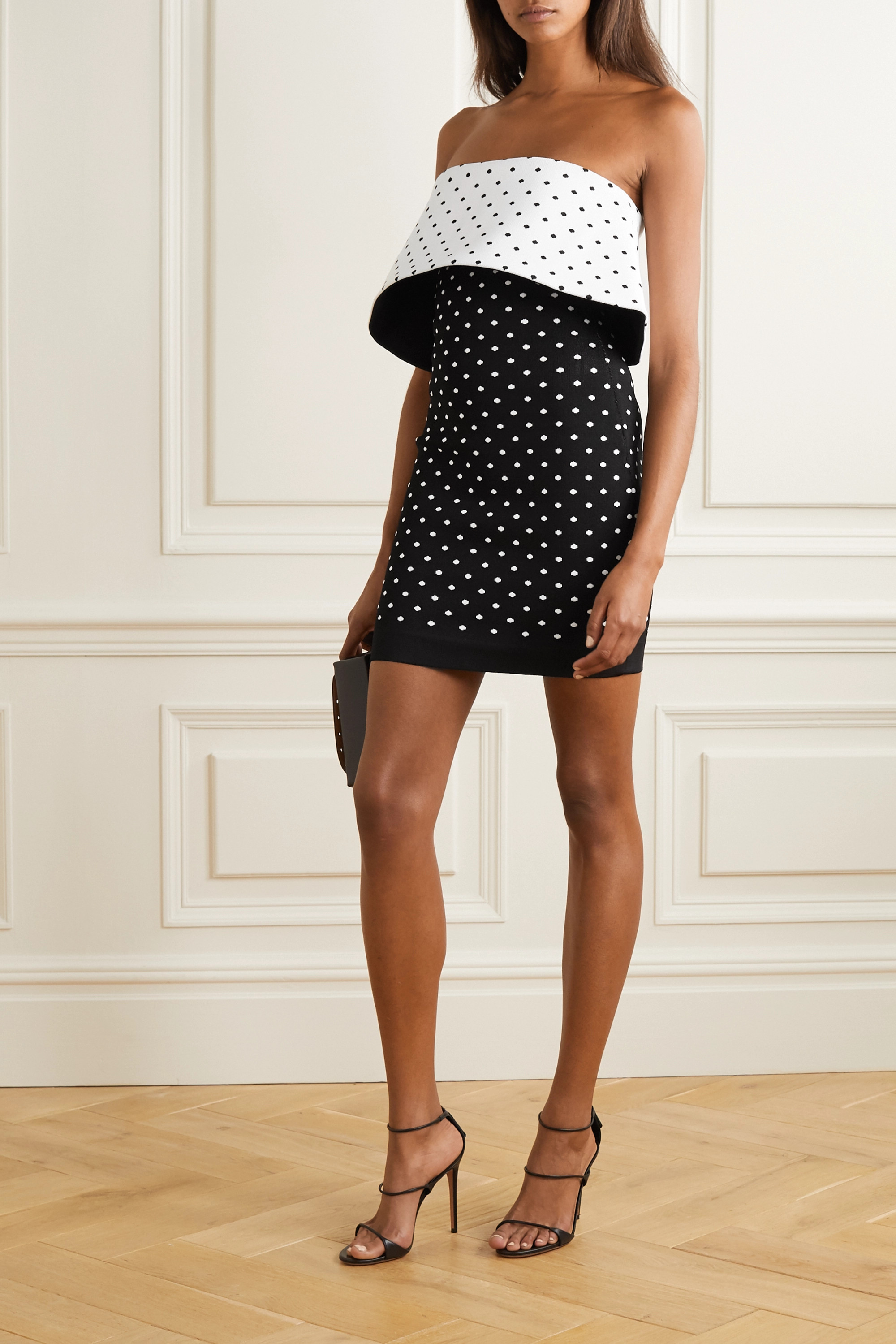 Balmain Strapless polka-dot jacquard-knit mini dress