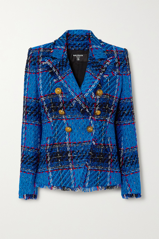 Balmain 双排扣毛边格纹花呢西装外套