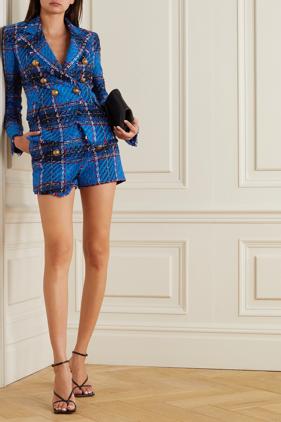 Balmain Double-breasted frayed checked tweed blazer