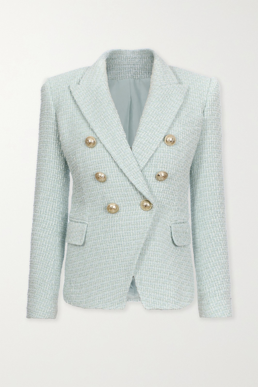 Balmain 双排扣纽扣缀饰花呢西装外套