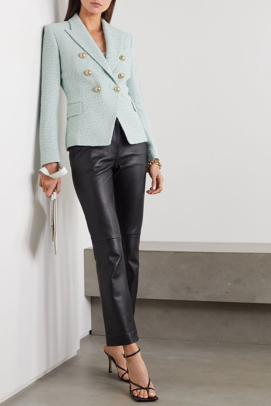 Balmain Double-breasted button-embellished tweed blazer
